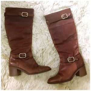 Coach tan /brown leather mid heel boots, Size 6.5